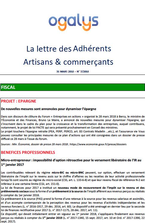 lettre des adhérents artisans et commerçants 31 mars 2018
